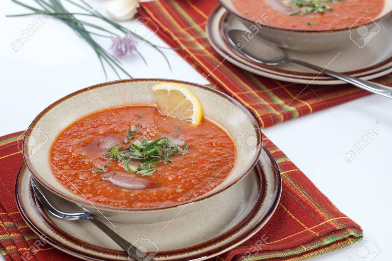 Closeup Of Bowl Of Delicious Cold Gazpacho Soup With Cucumber