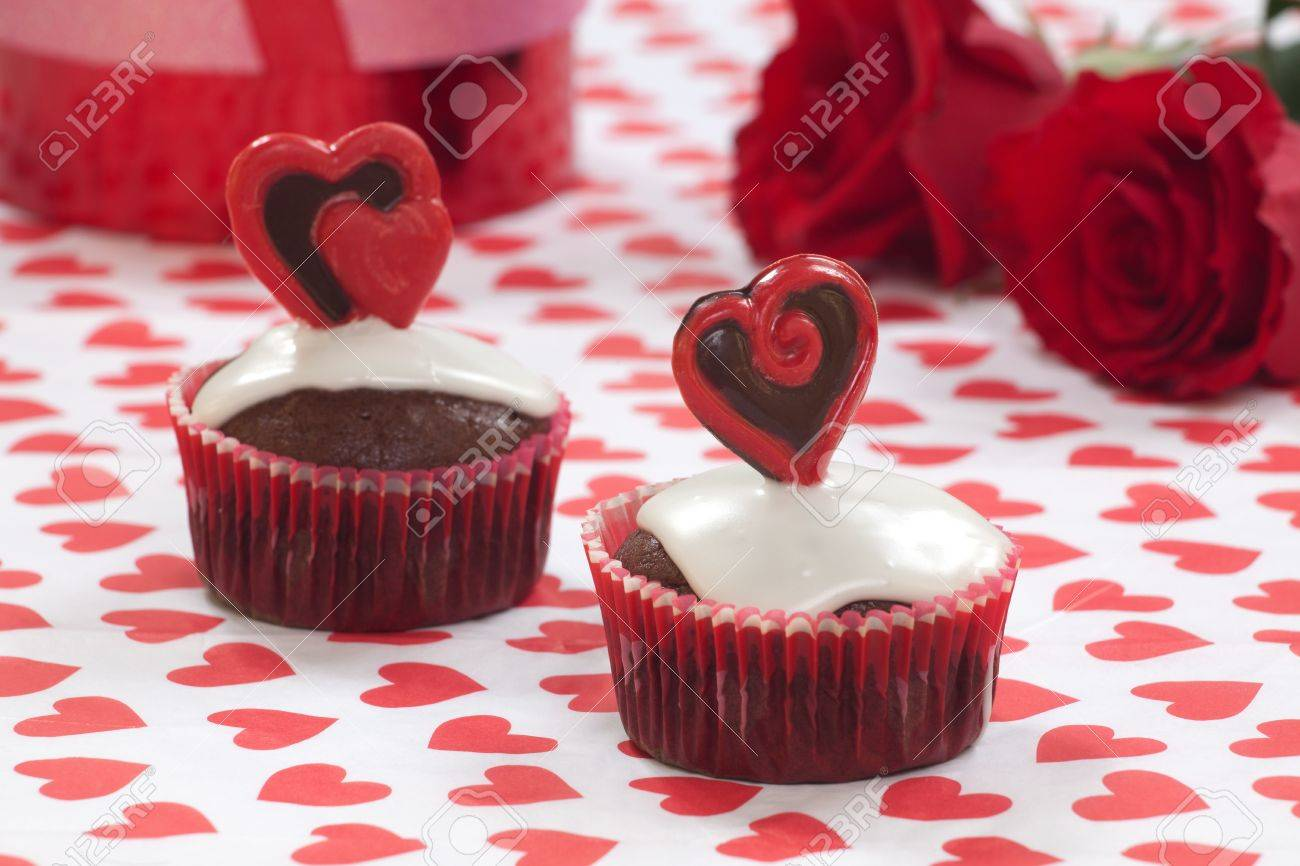 Closeup Of Valentine Day Chocolate Cupcakes Garnished With Heart ...