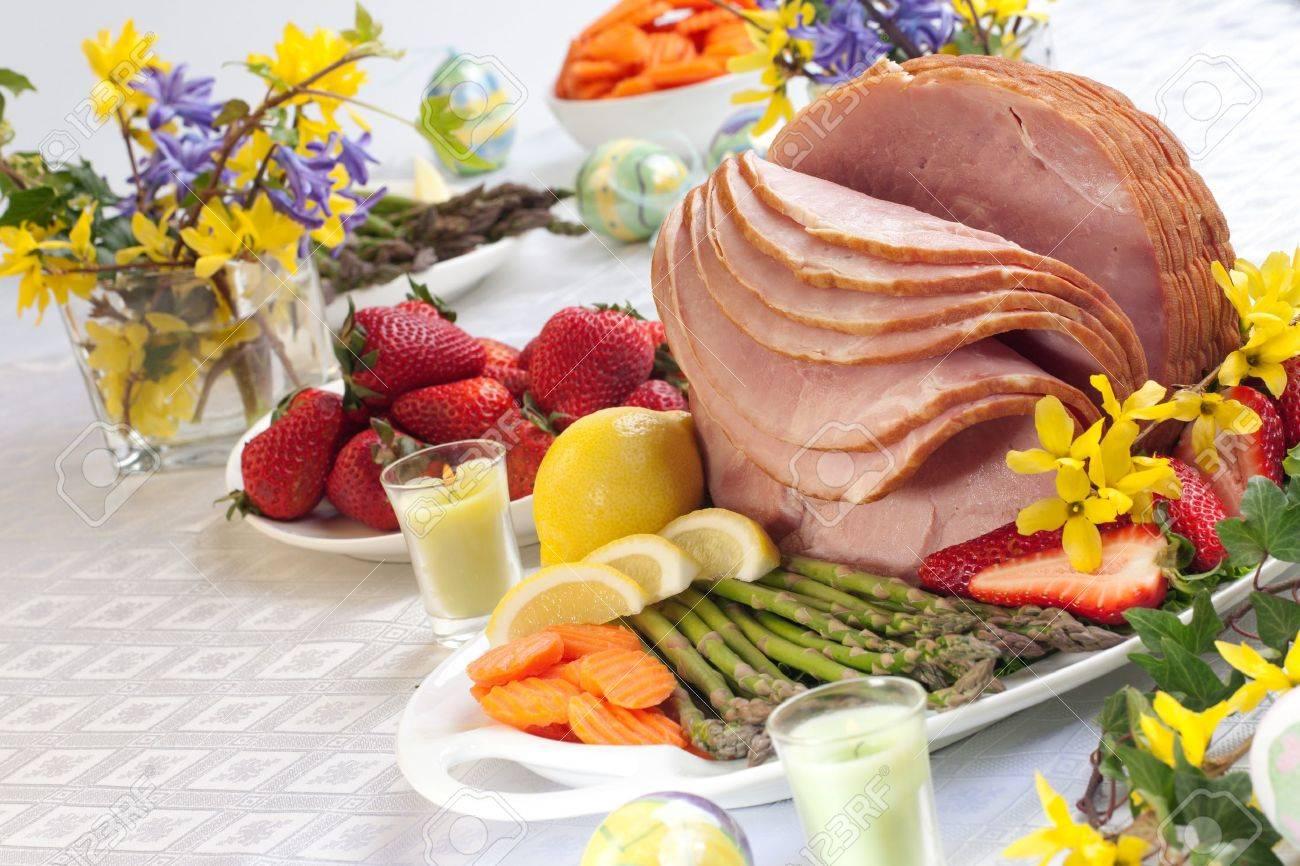 Festive Glazed Ham For Easter Celebration Dinner Garnished With