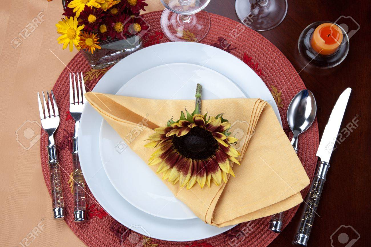 Setting A Dinner Table Harvest Festive Dinner Table Setting With Sunflowers Stock Photo