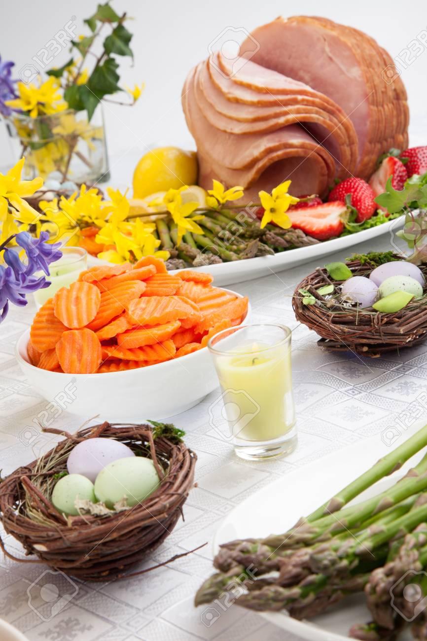 Table Set With Festive Glazed Ham For Easter Celebration Dinner