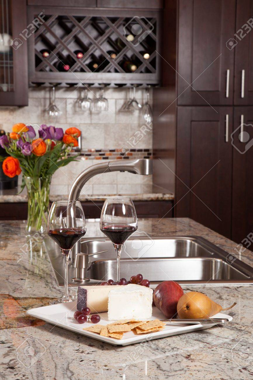 Modern house new contemporary luxury custom kitchen and refreshments on exotic granite countertop - 19842519