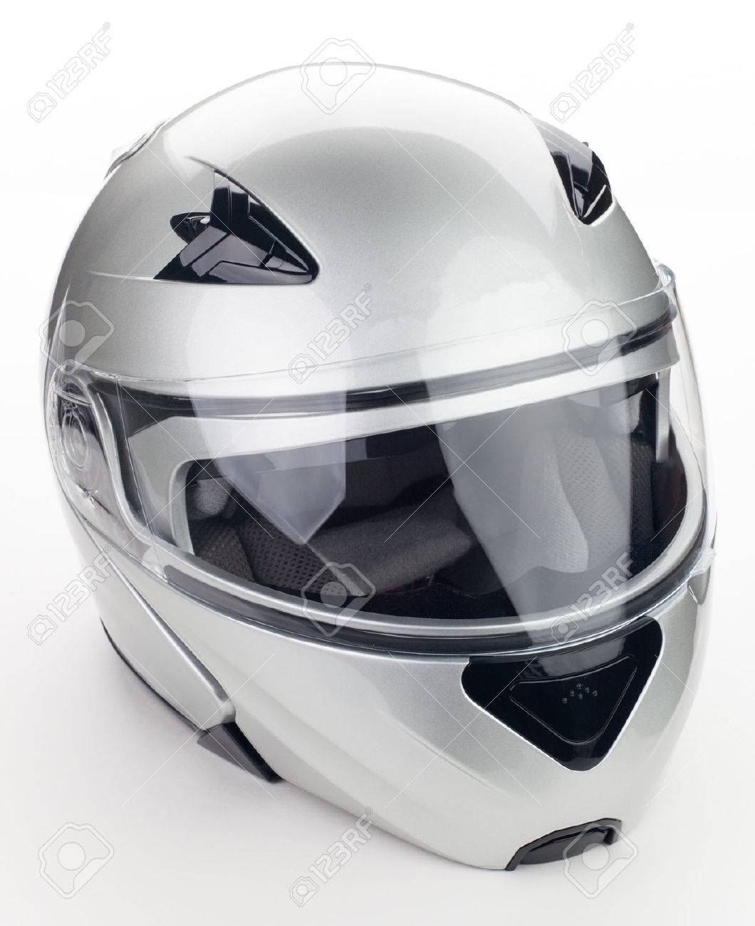 High quality light gray motorcycle helmet over white background, studio isolated - 27712726