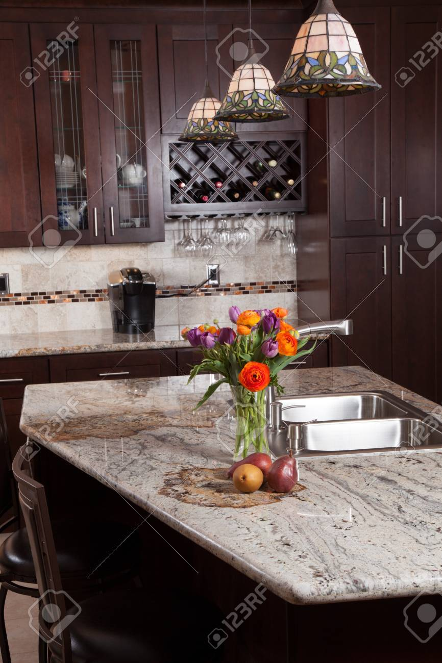 Modern house new contemporary luxury custom kitchen and refreshments on exotic granite countertop - 27712727