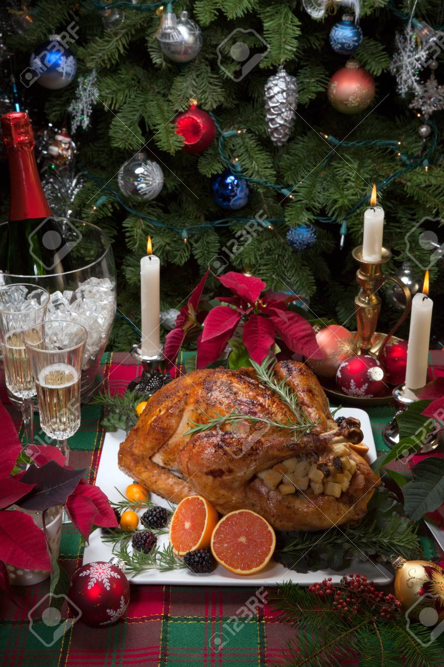 Christmas Tree Fruit Ornaments.Roasted Turkey With Fresh Fruits Flutes Of Champagne Christmas