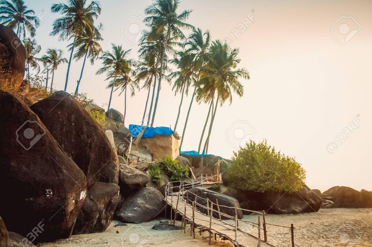 Bungalows on palolem beach india goa travel sea nature sun vacation stock photo 38293355