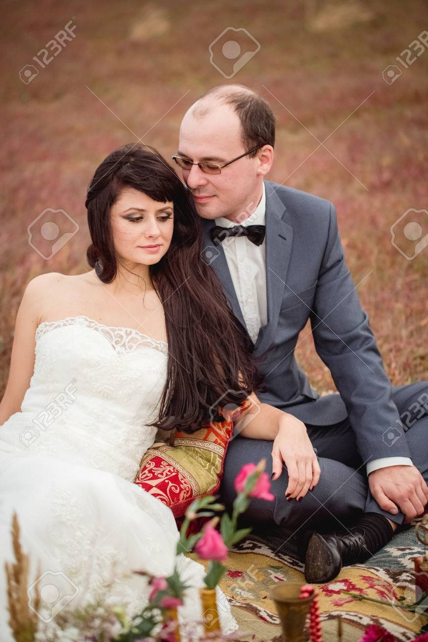 Stock Photo Two Lovers Wedding Couple Husband Wife Love Nature Honeymoon Love Story Bouquet Of Flowers