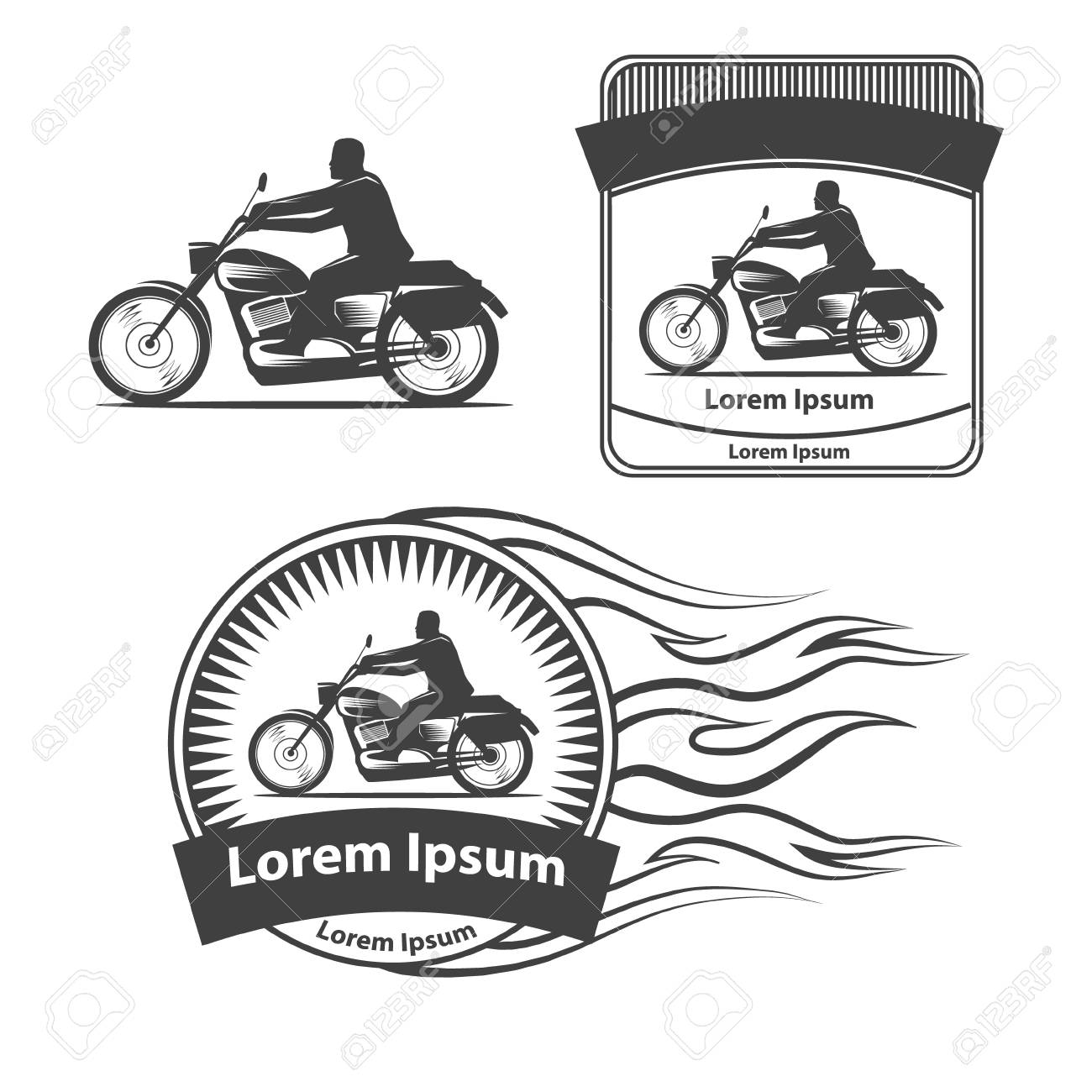 Silhouette Of A Motorcycle Rider, Simple Illustration For Icon ...
