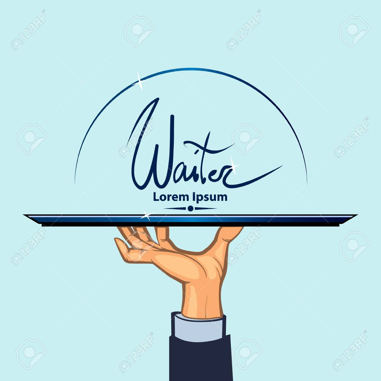 waiter, human hand with a tray, simple color illustration - 51942188