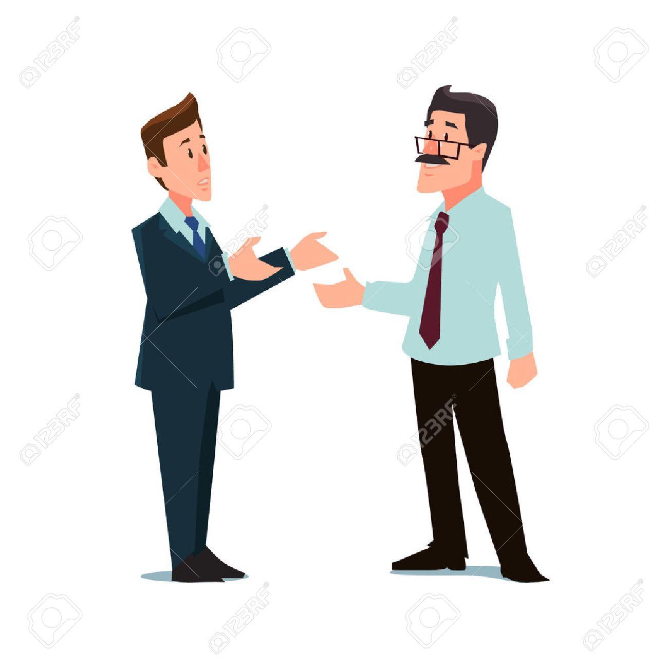 cartoon characters, businessmen, collaboration, teamwork negotiation, vector illustration - 52813537