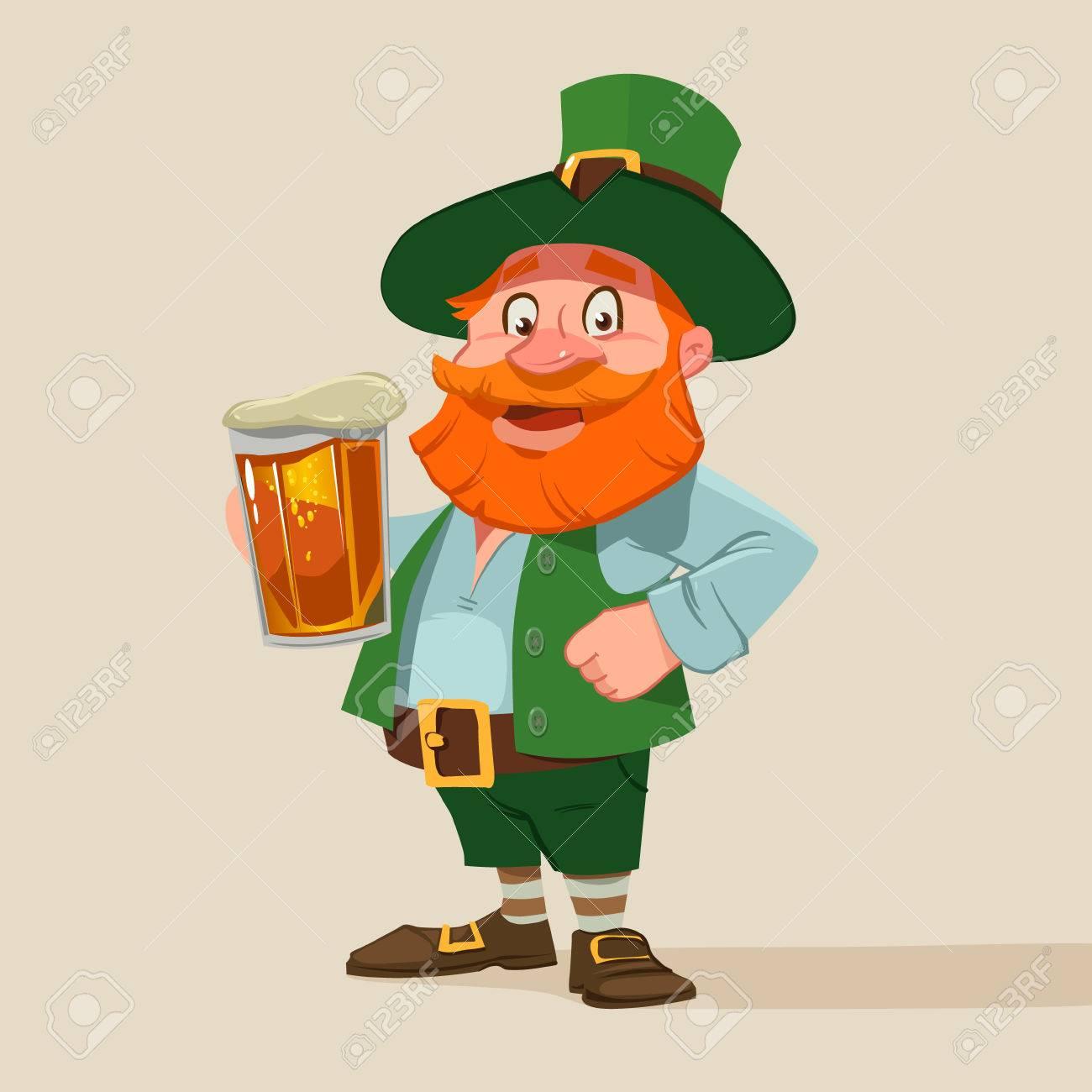 Leprechaun, Hombre Irlandés Con Cerveza, Diseño Del Día De St ...