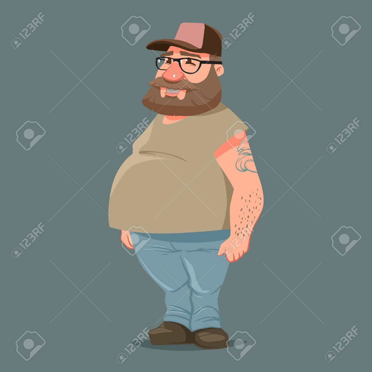 45a658b9 funny cartoon character, truck driver with beard in trucker cap, vector  color illustration Stock