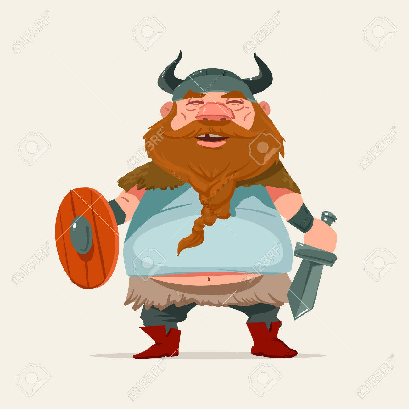 Cartoon Funny Character Viking Vector Illustration Royalty Free