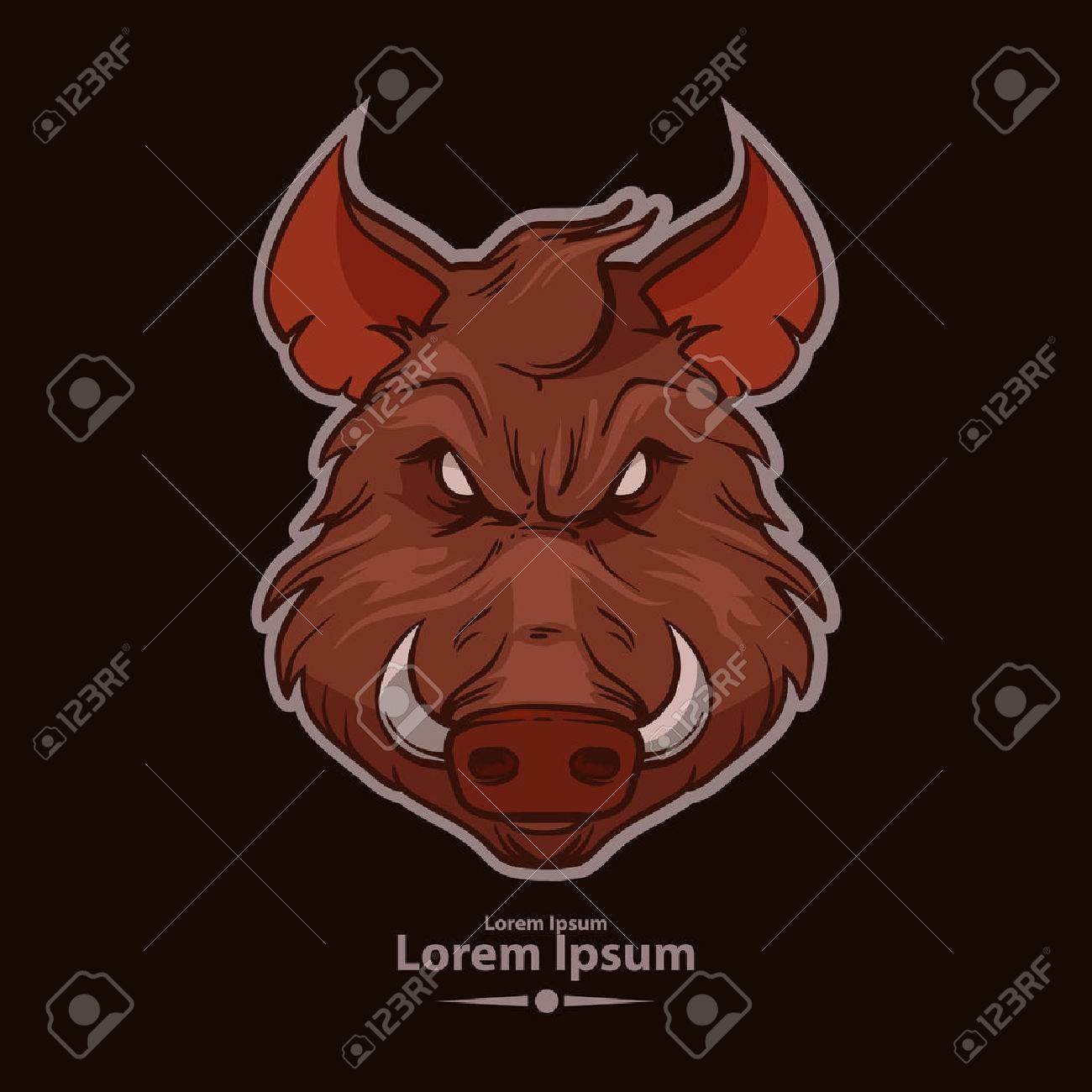 Boar For Logo American Football Symbol Simple Illustration