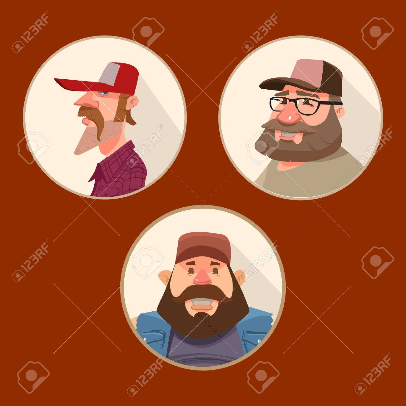 Set of funny avatars driver truck cartoon character portrait in circle vector