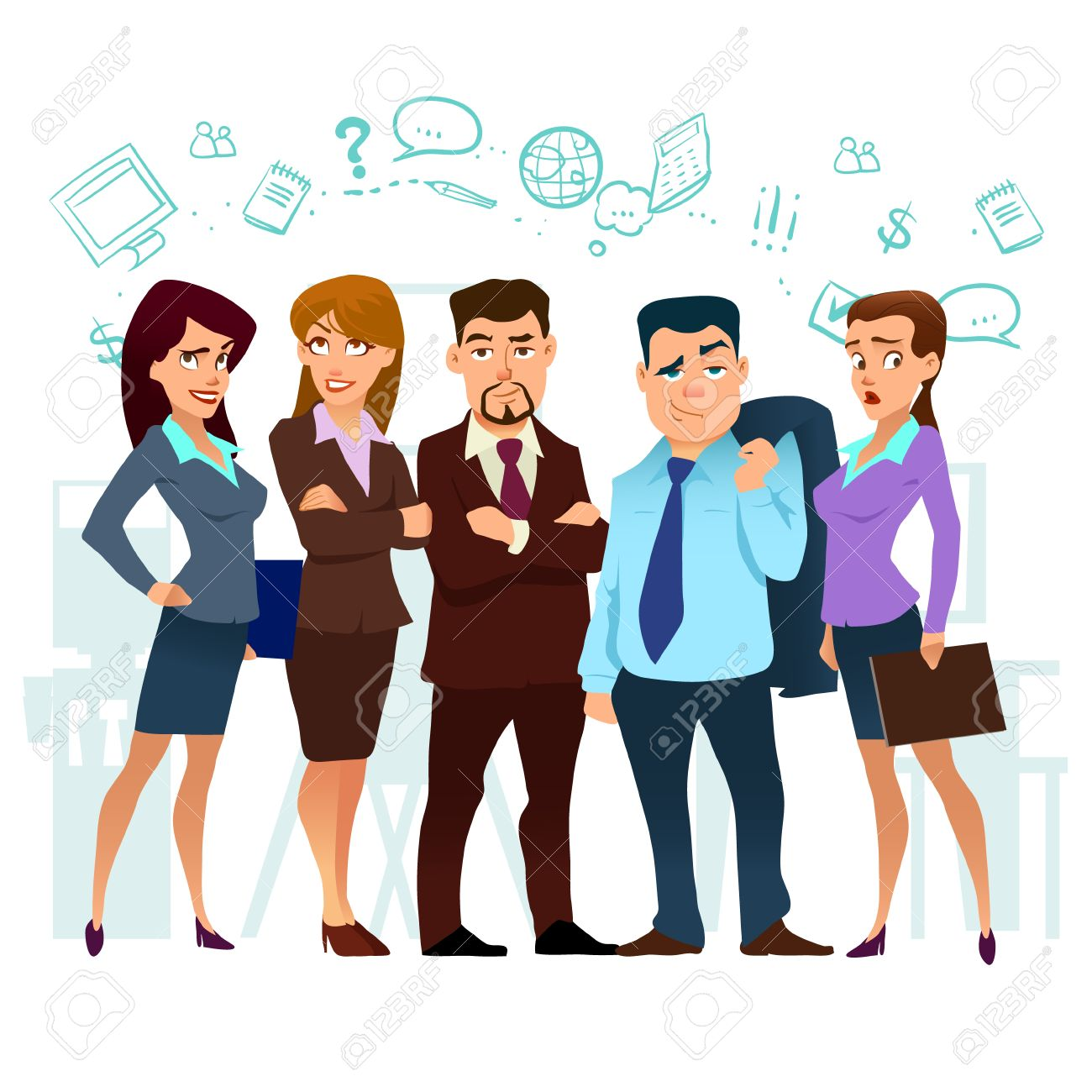 business cartoon characters coworking teamwork in business
