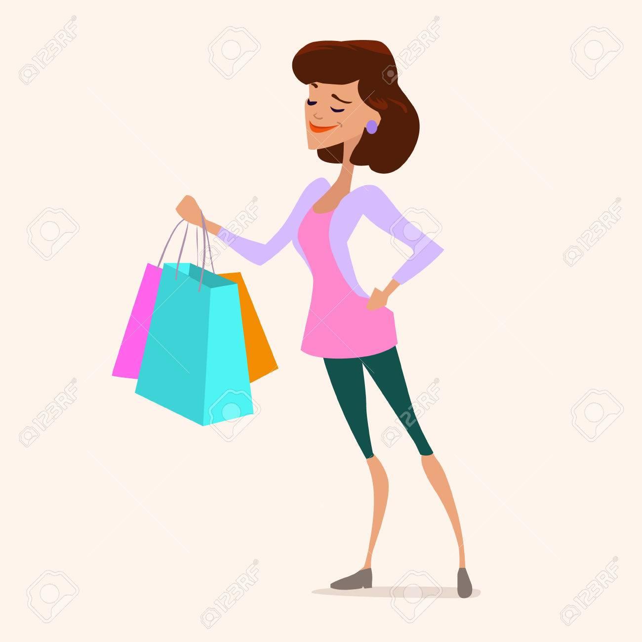 Dessin Shopping mignon jeune femme à la mode shopping, sac, vente, personnage de