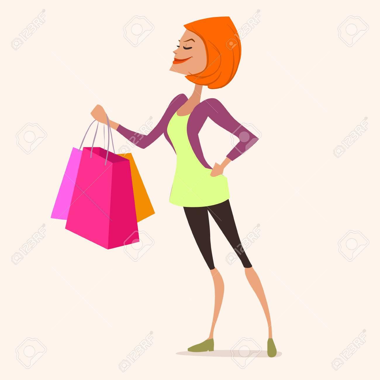 かわいい若いおしゃれな女性のショッピング バッグ 販売 漫画のキャラクター ベクトル イラストのイラスト素材 ベクタ Image
