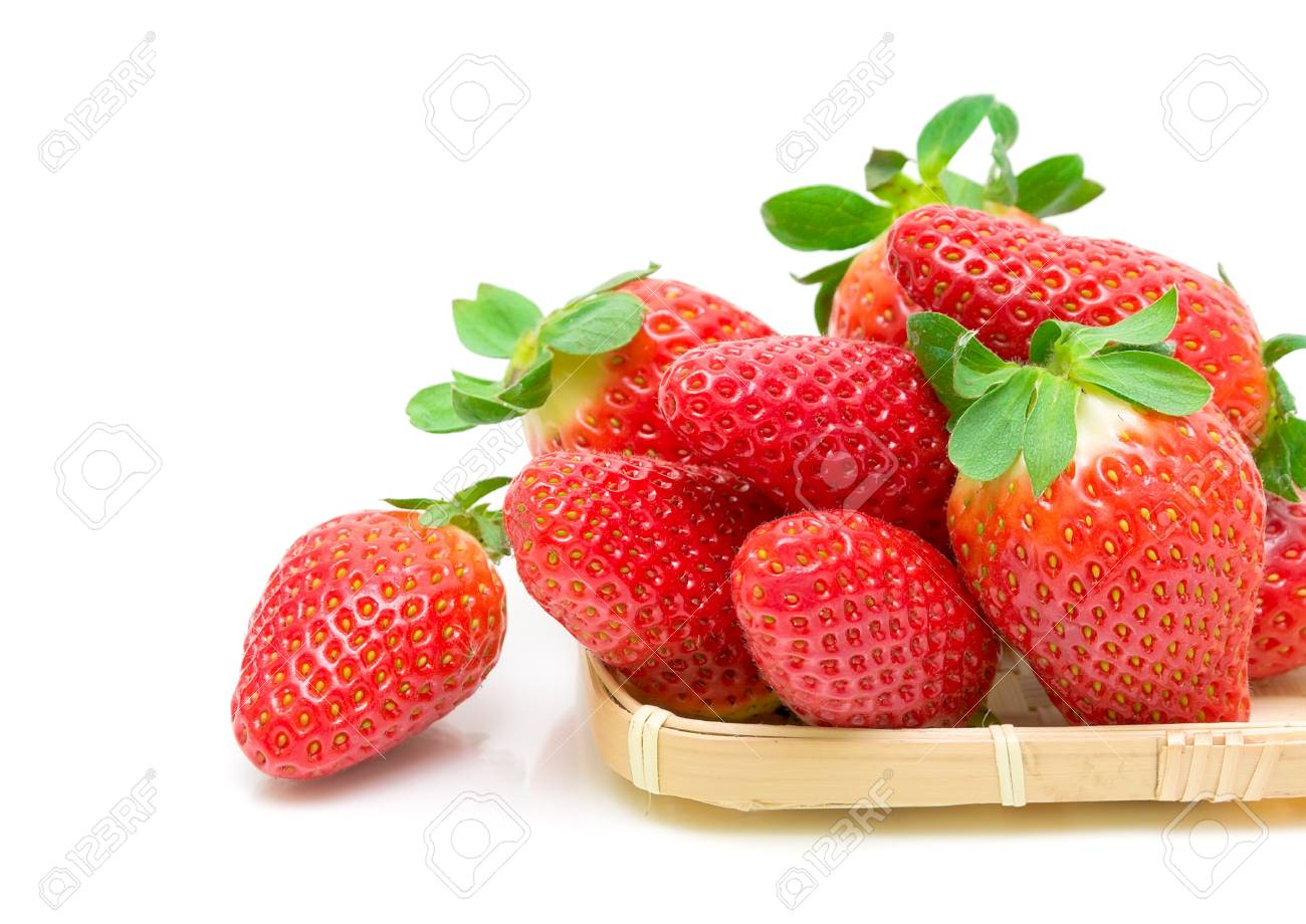 beautiful, fresh and juicy strawberries closeup on white background Stock Photo - 12477820