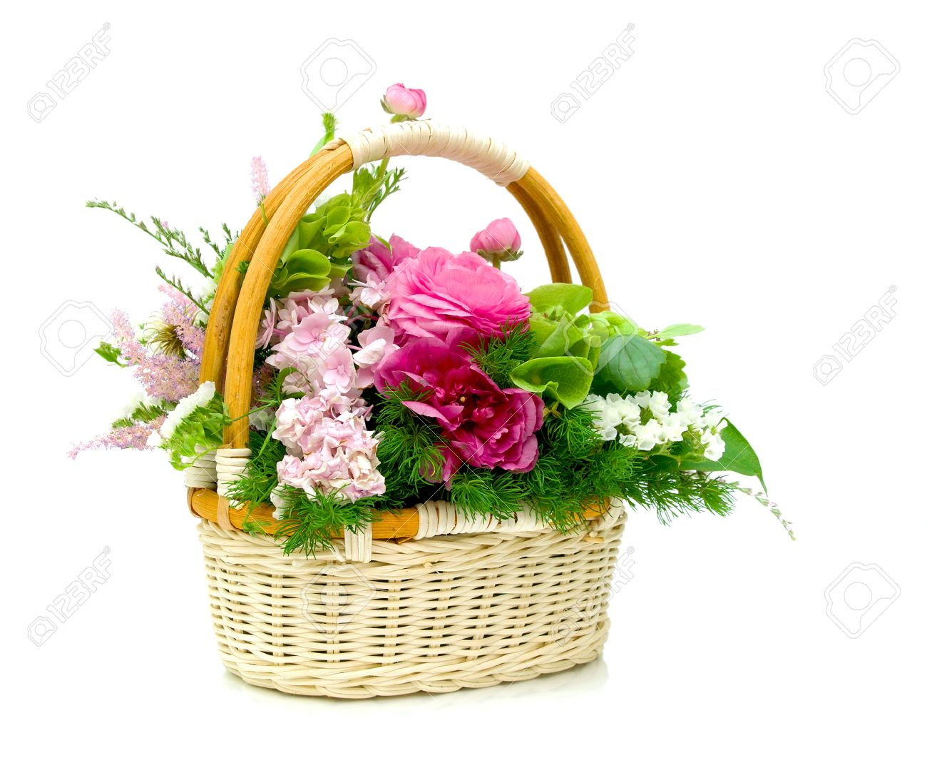 Wicker basket with fresh beautiful flowers isolated on white stock stock photo wicker basket with fresh beautiful flowers isolated on white background izmirmasajfo