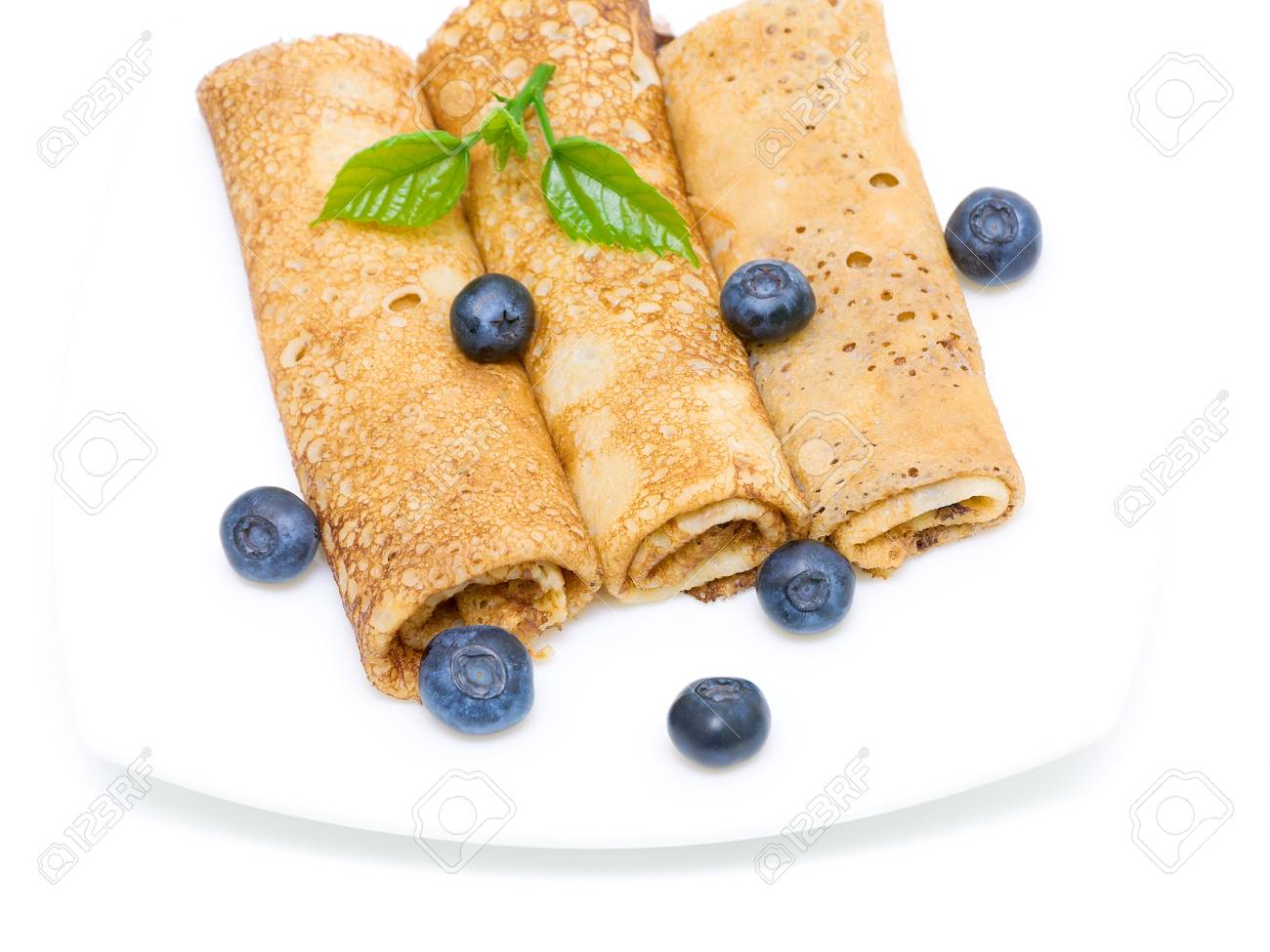 pancakes and fresh blueberries on a white background  Top view Stock Photo - 18513151