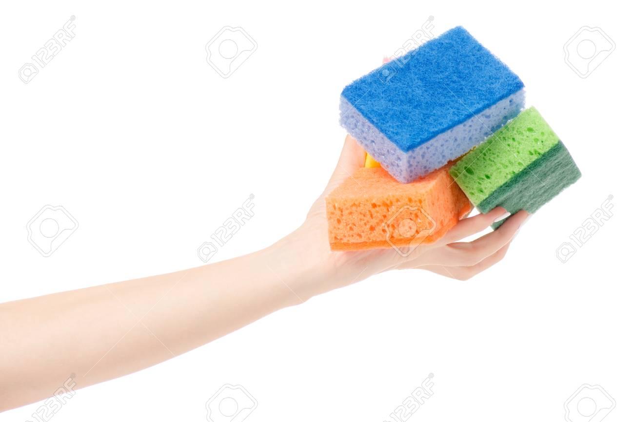 Female Hand Kitchen Dish Sponge For Washing Dishes On White ...
