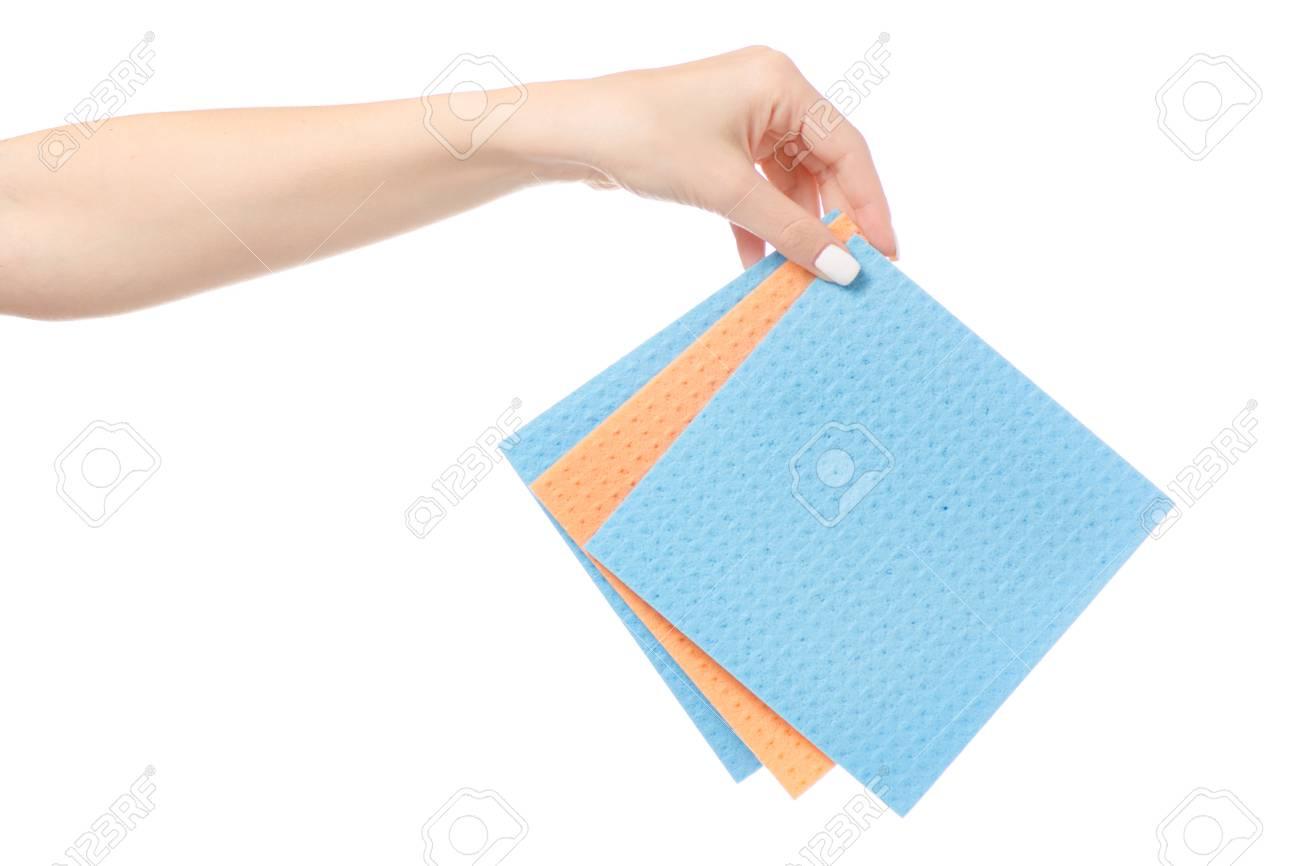 Female Hand Holding Kitchen Rags On White Background Isolation