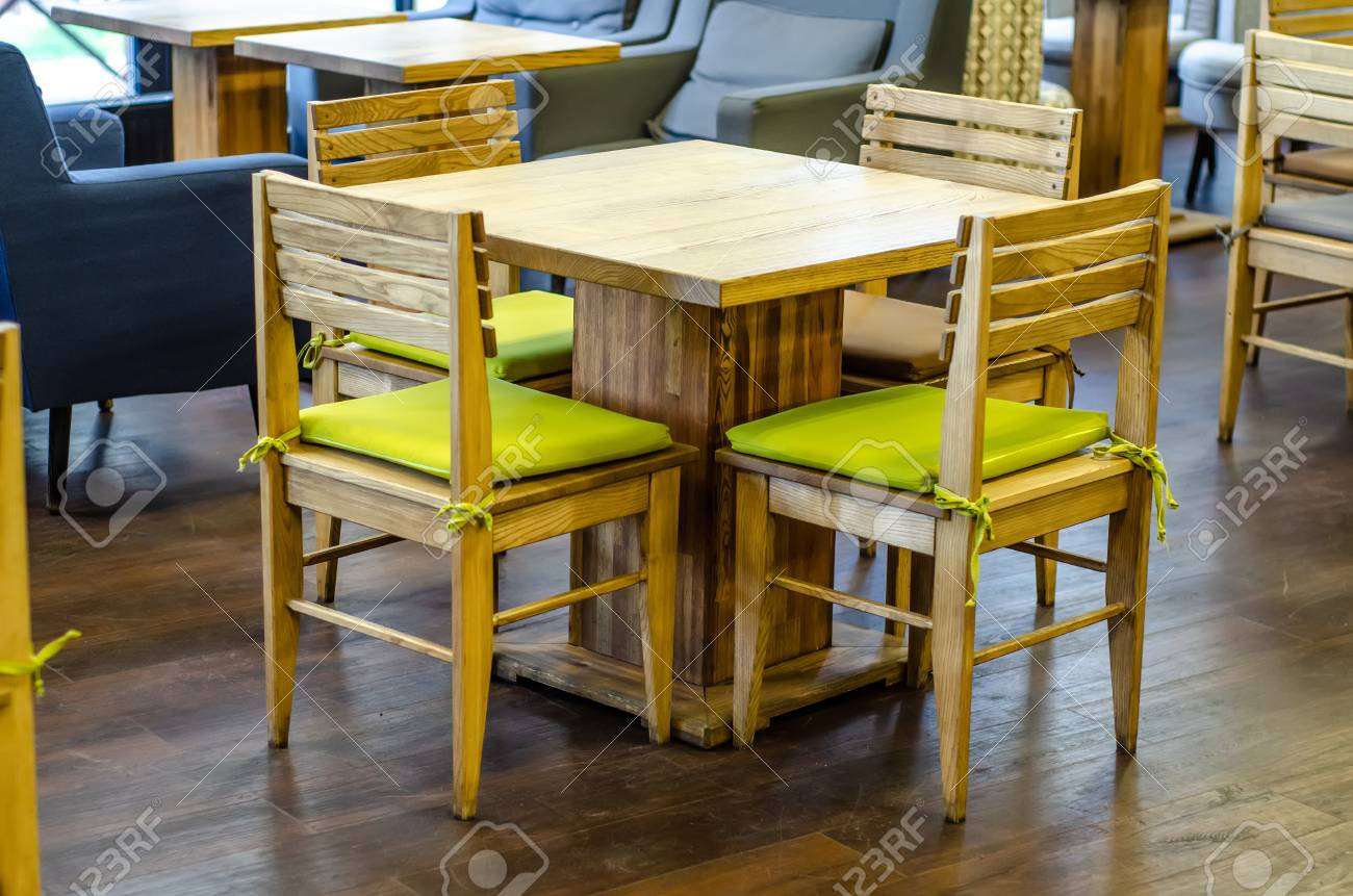 Wooden Table Chairs In Cafe Restaurant Furniture