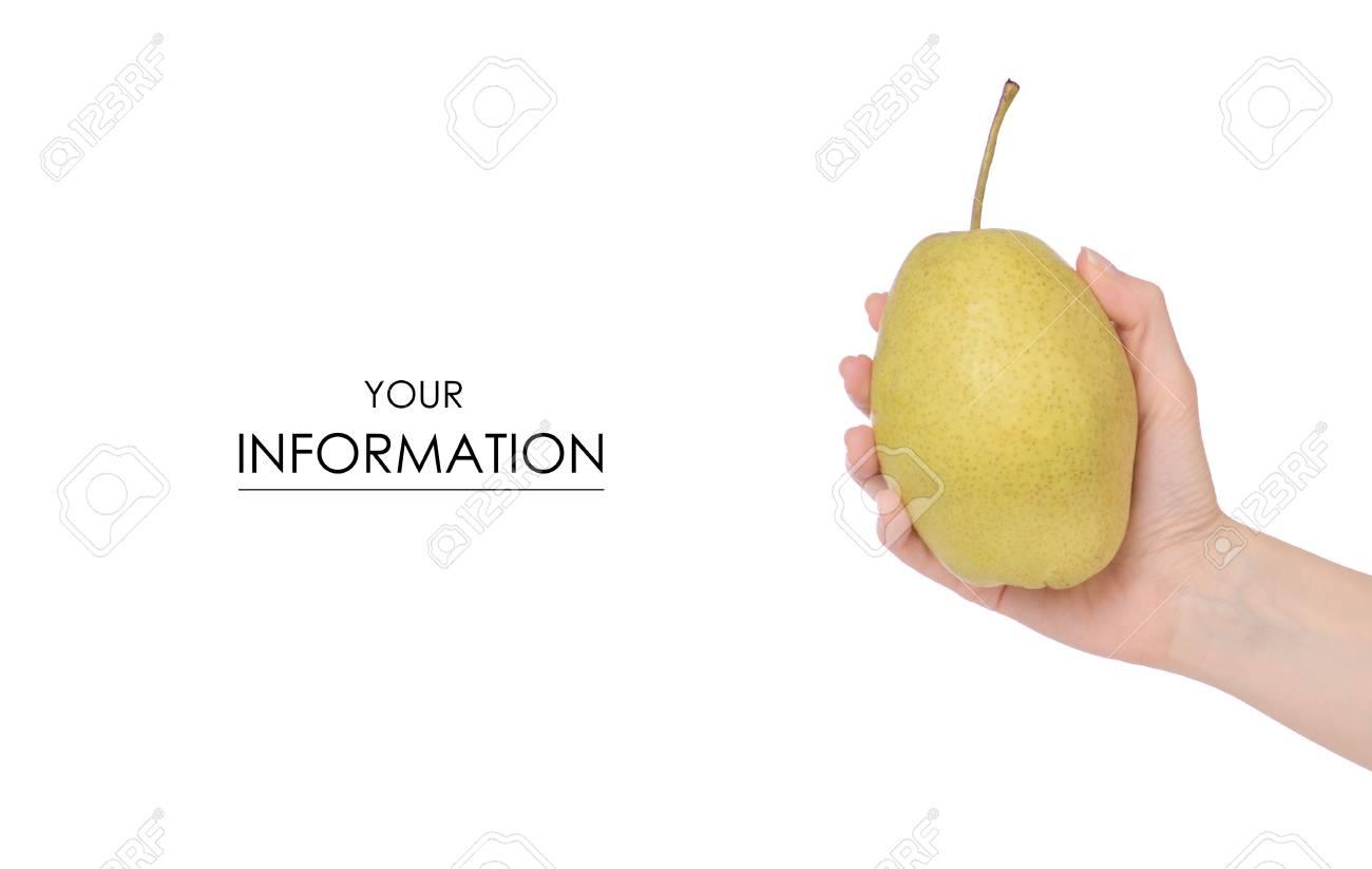 Fruit Hybrid Apple Pear In Hand Pattern On White Background