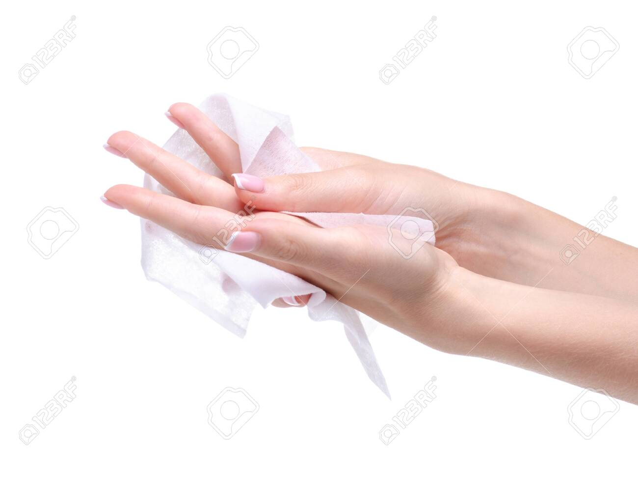 Female hand wet wipe on white background isolation, top view - 143341407