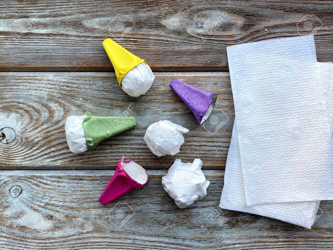 Childrens Crafts Ice Cream Cone Out Of A Napkin And A Box Of Stock Photo Picture And Royalty Free Image Image 149670197