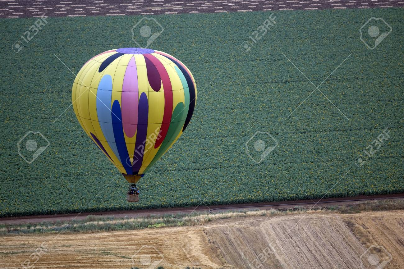 A hot air balloon above fields landscape Stock Photo - 7320125