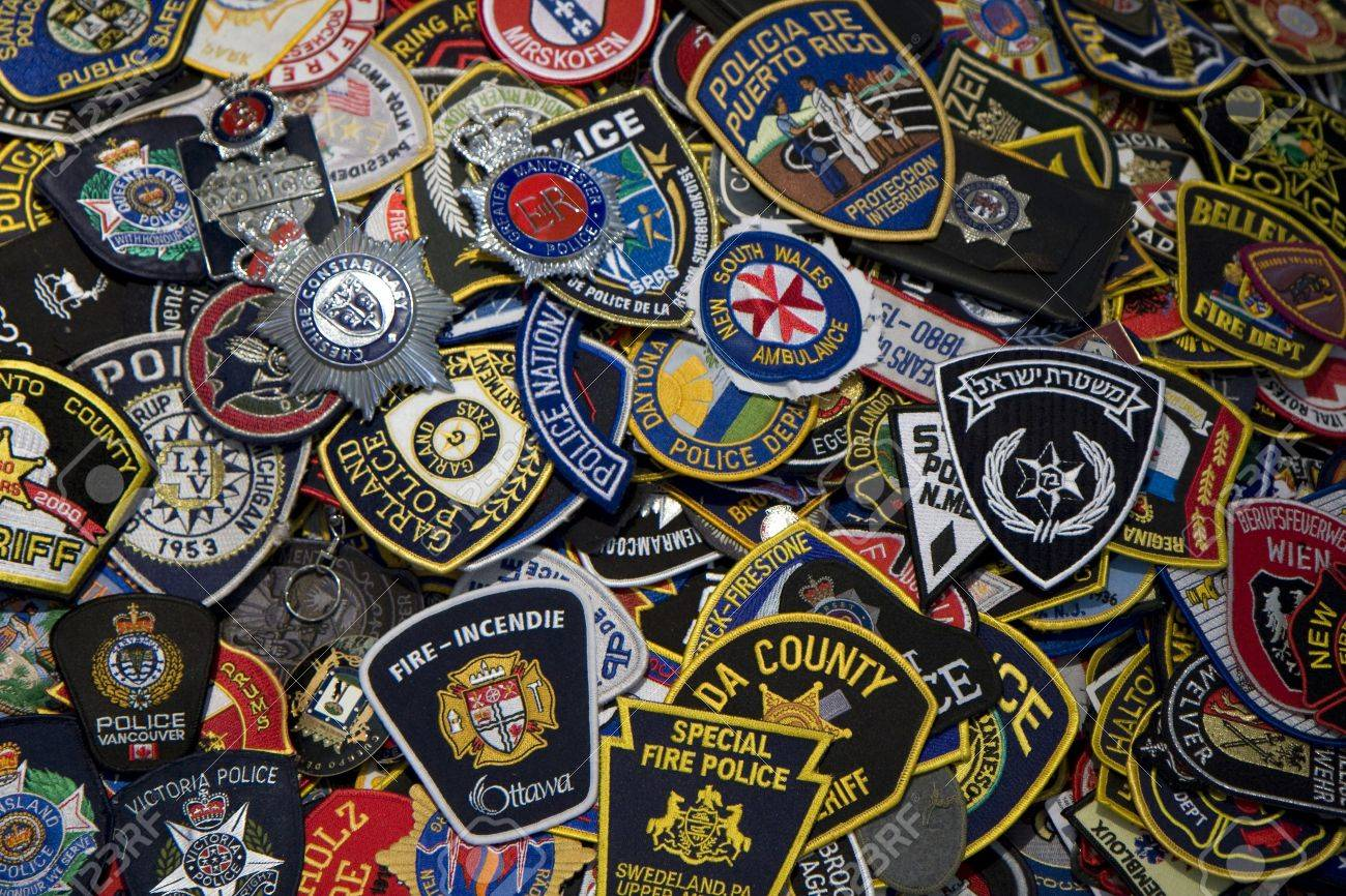 heap of police and firemen badges stock photo picture and royalty