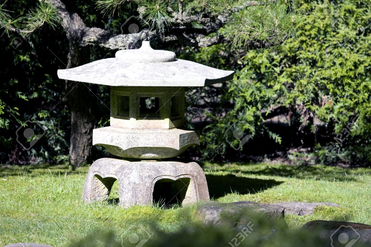 Stone Temple In Japanese Traditional Garden In San Francisco Stock