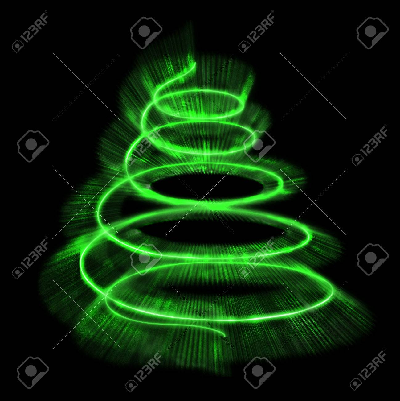 Verlichte Kerstboom Geïsoleerd. Illustratie. Royalty-Vrije Foto ...