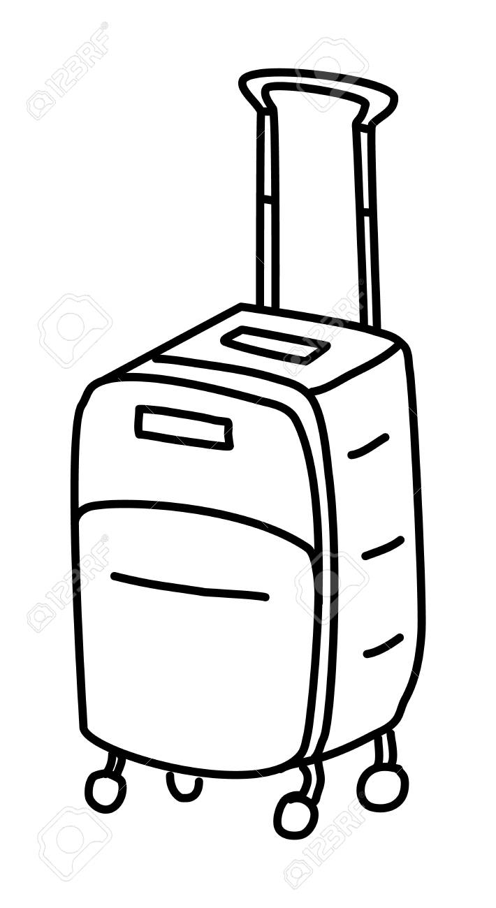 Suitcase doodle drawing Vector illustration