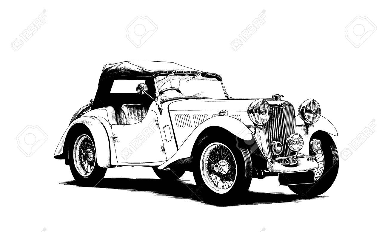 Retro-Auto Gemalt Tinte Schwarz Und Weiß Lizenzfreie Fotos, Bilder ...
