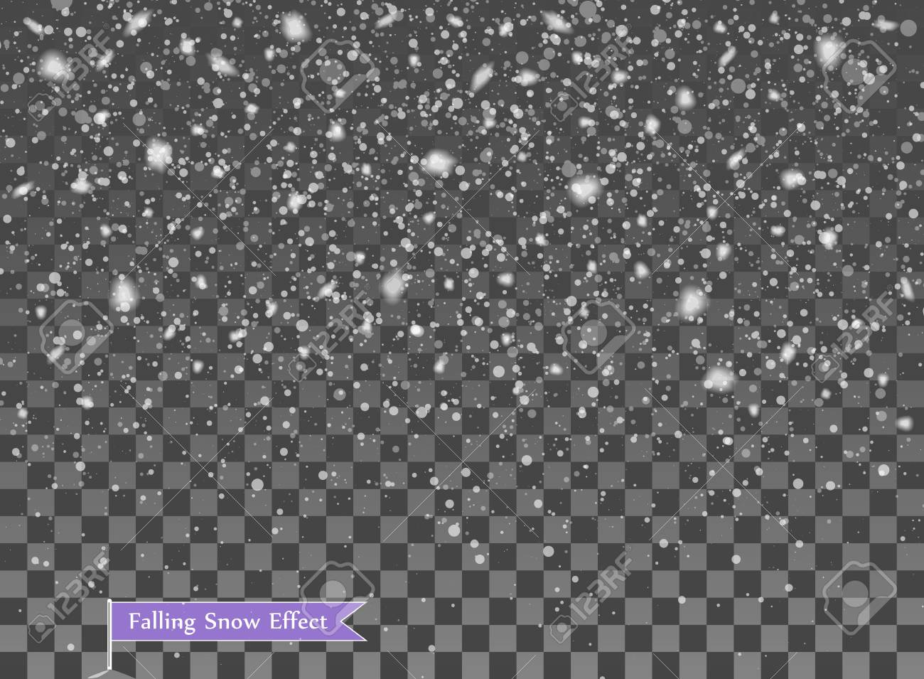 Falling snow, random elements. New year, Christmas decor overlay. Vector illustration on isolated transparent background. Eps. - 126779412