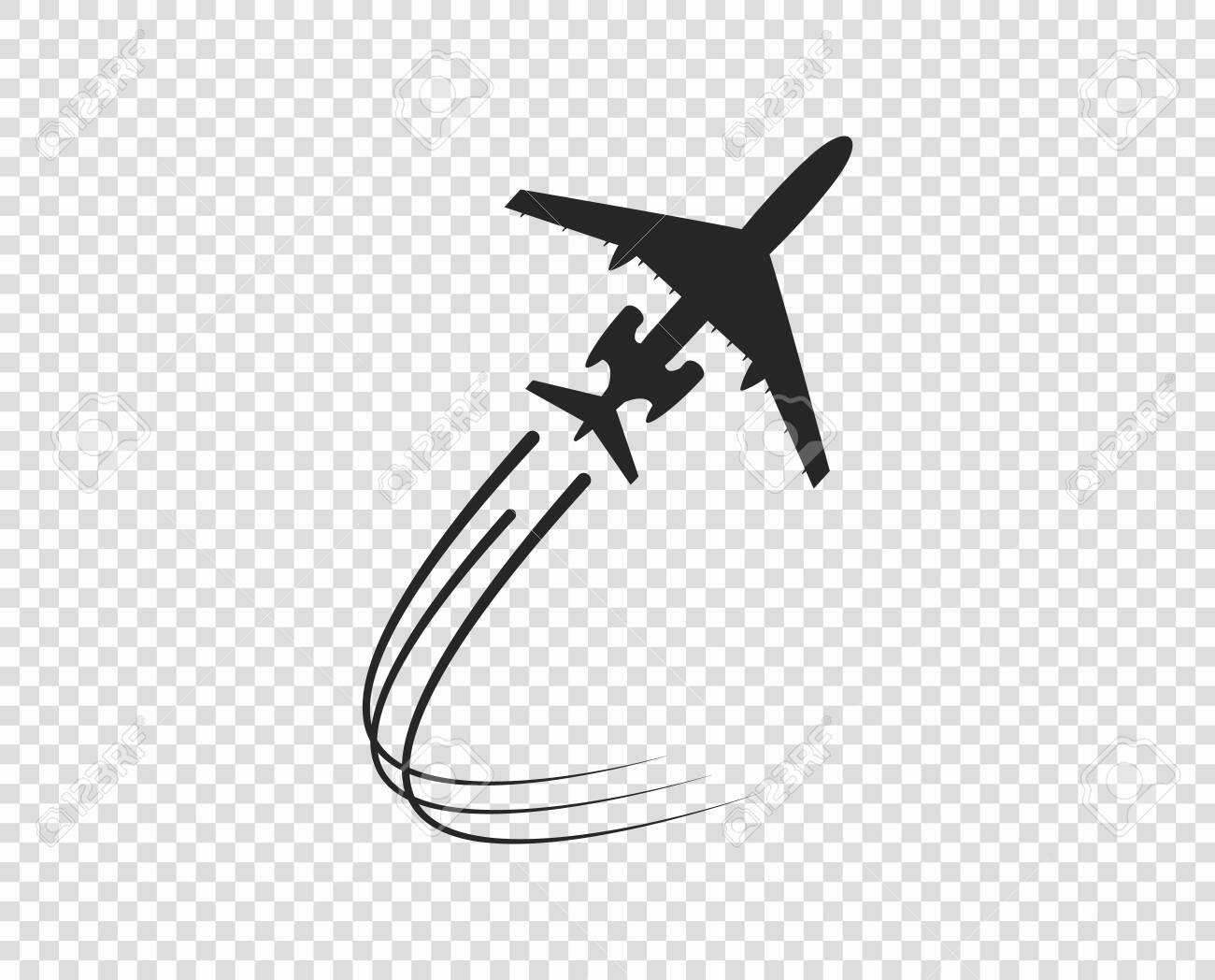 Airplane Icon Silhouette Taking Off A Twisting Plane Trail