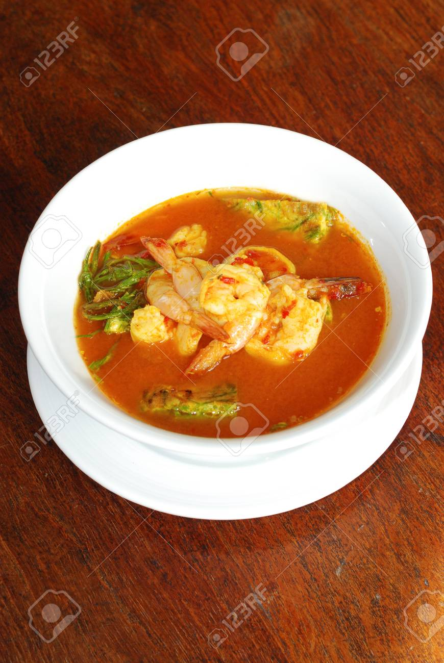 close up shrimp spicy soup with vegetable omelette Thai food Stock Photo - 22550979