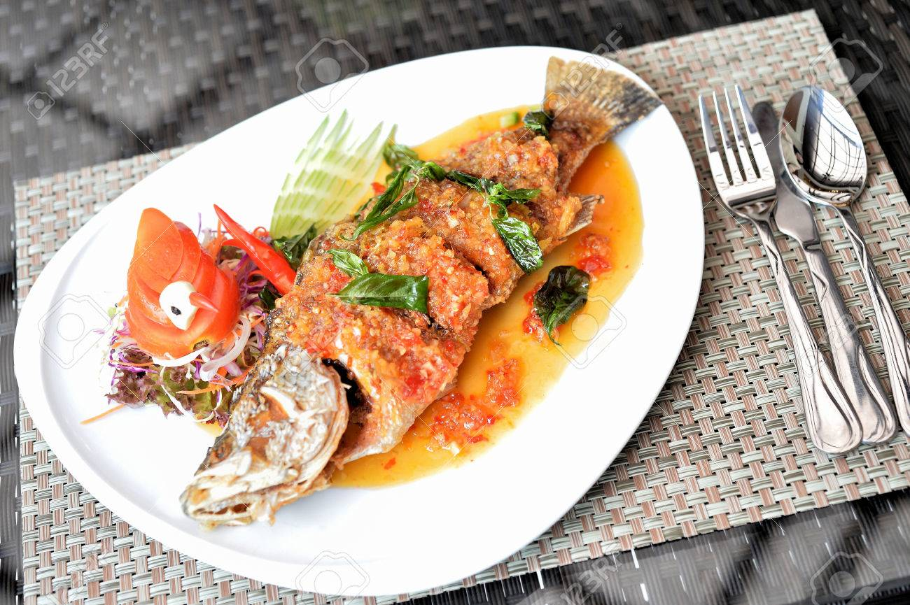 Deep Fry Fish With Hot And Chilli Sauce Thai Food Call Pla Rad Stock Photo Picture And Royalty Free Image Image 43690699