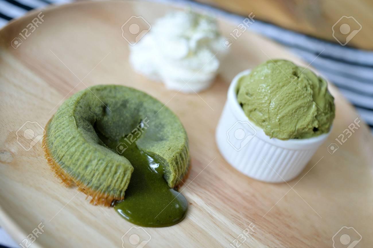 matcha green tea lava cake with ice cream selective focus stock