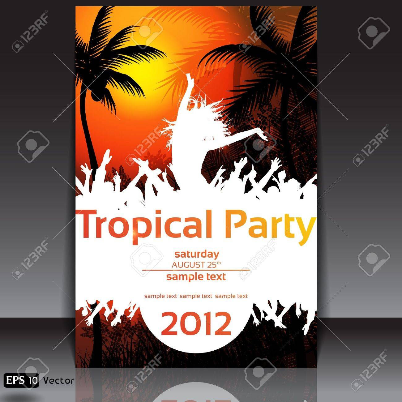 Tropical Disco Dance Background with people and sunset Stock Vector - 14552346