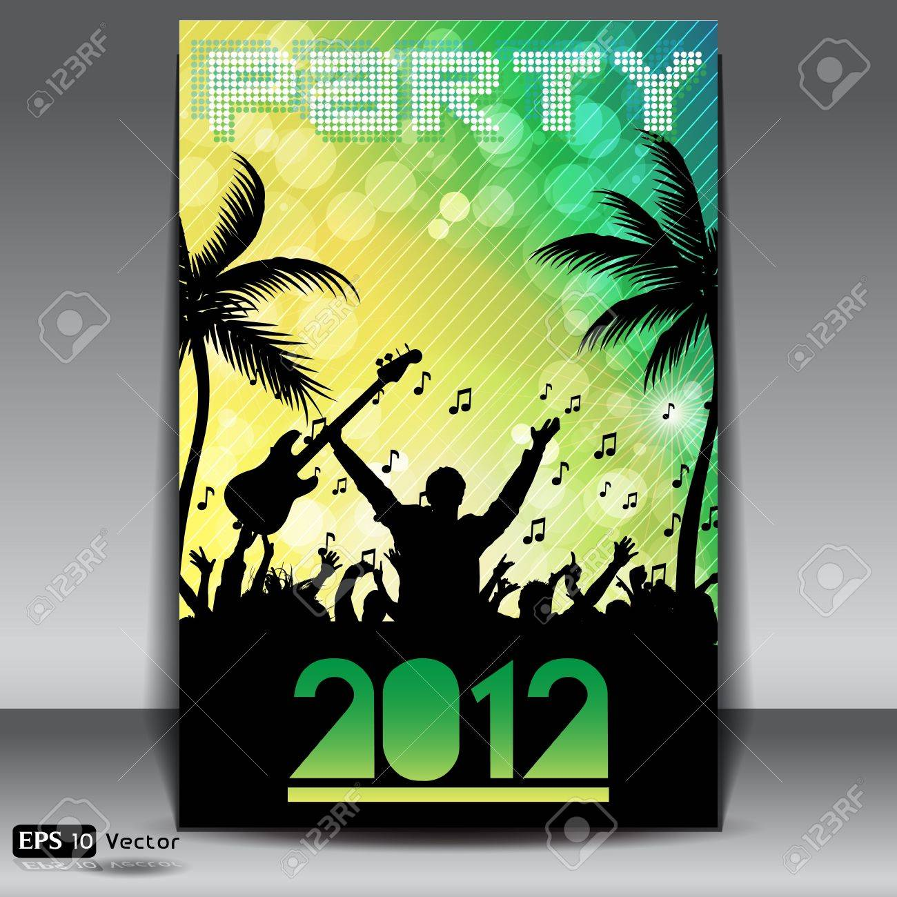 Summer Beach Party Flyer with Dancing Young People Stock Vector - 14648832