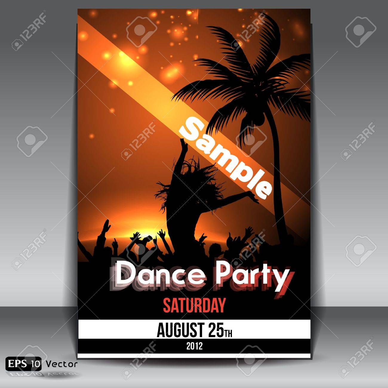 Summer Sunset  Beach Party Flyer with Dancing Young People Stock Vector - 15198723