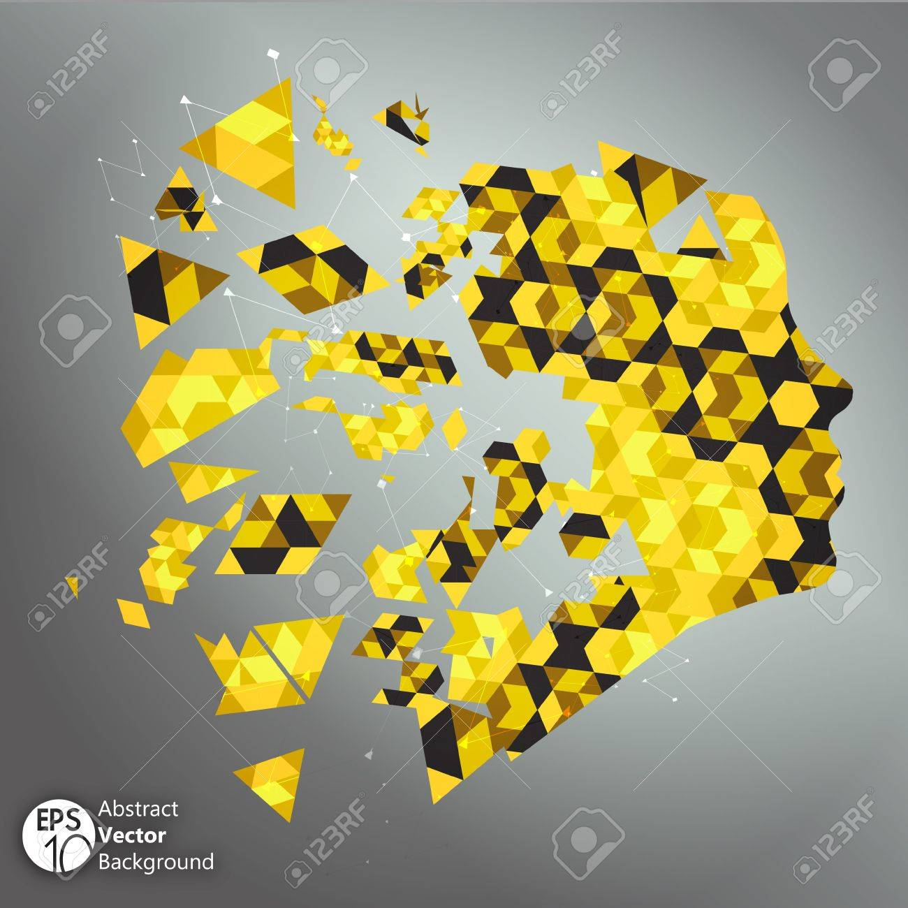 Yellow shattered face Illustration Stock Vector - 17454209