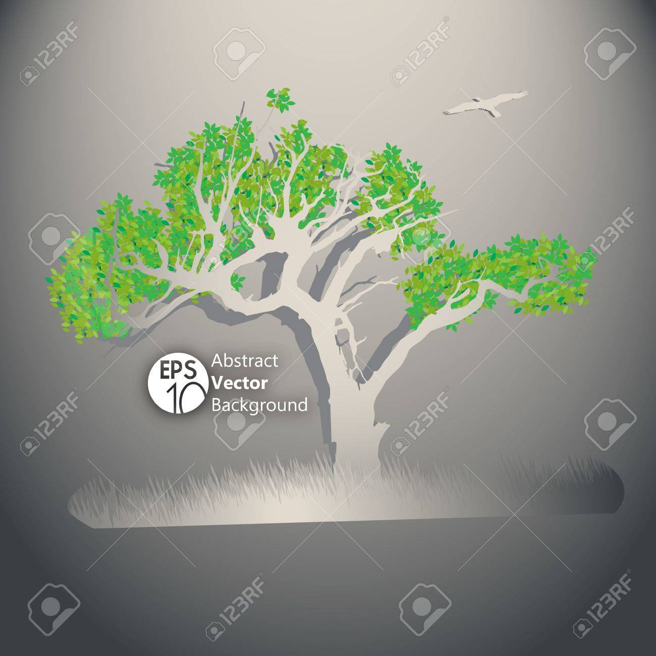Tree illustration with green leafs and grass Stock Vector - 17454206