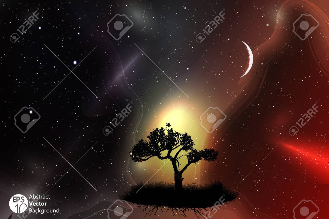 A single tree in a field with beautiful space and moon background Stock Vector - 17777046