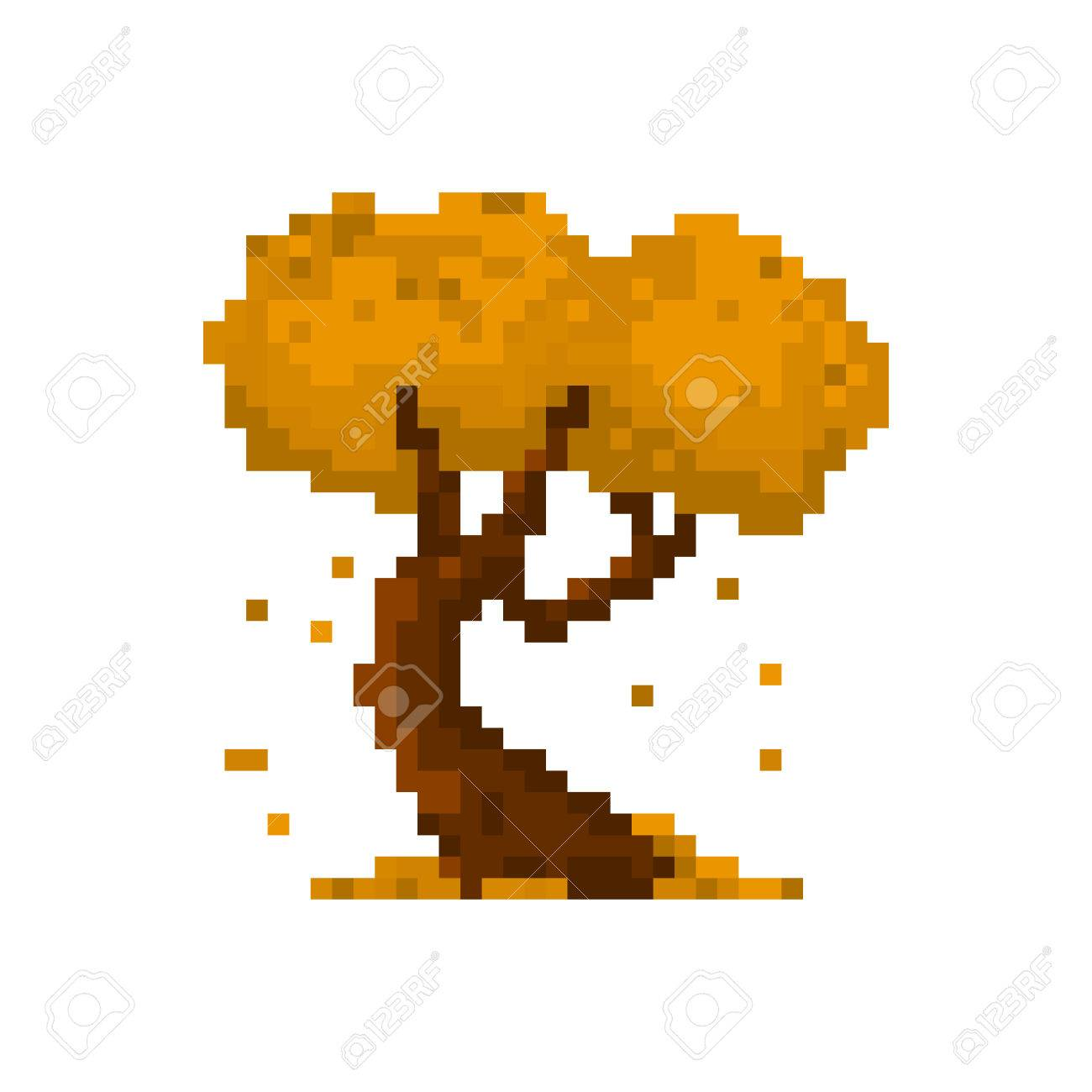 pixel autumn yellow tree for games and applications royalty free