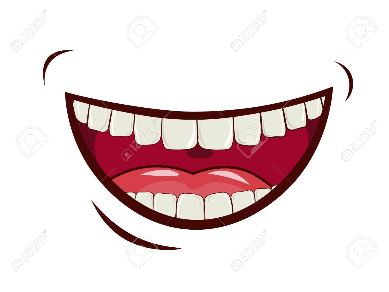 Charming smile, emotional expression of feelings, laughter, joy. Wide open mouth, upper and lower jaw, oral cavity with tongue. Caring for a healthy oral cavity, white teeth. vector image. - 149968527